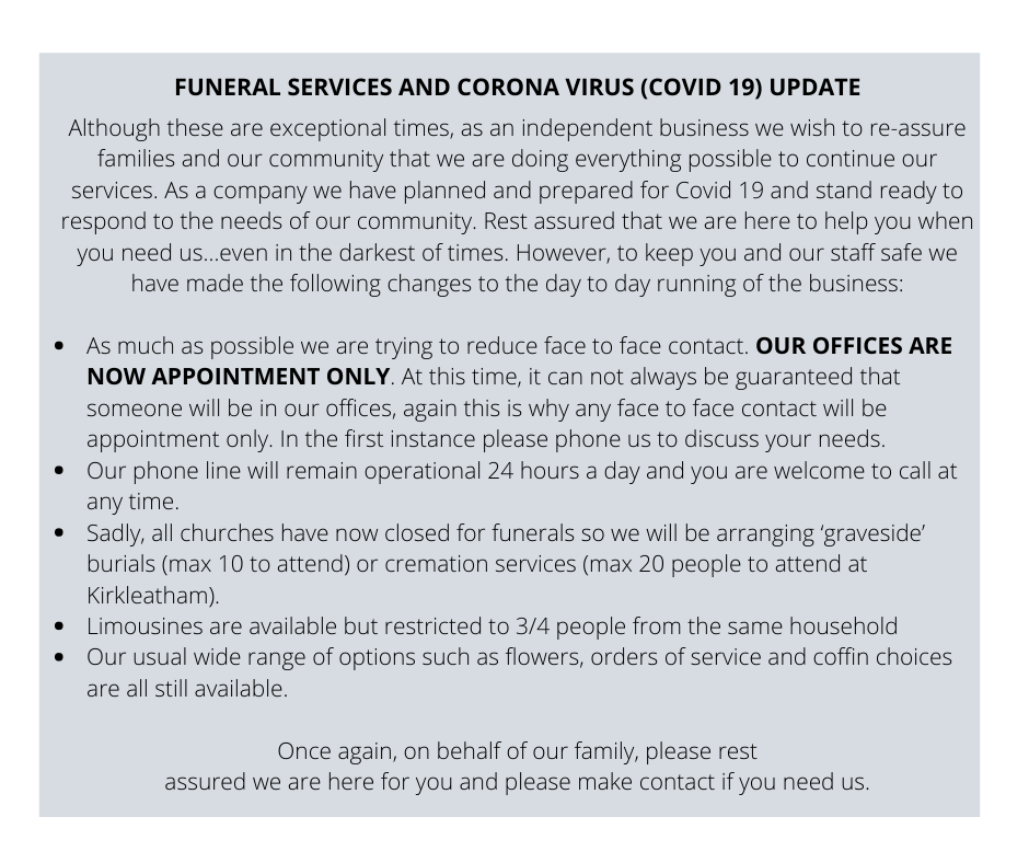 FUNERAL SERVICES AND CORONA VIRUS (COVID 19) UPDATE (2)