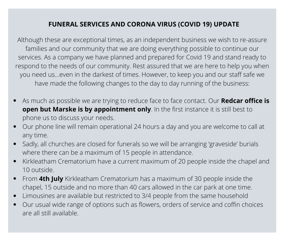 FUNERAL SERVICES AND CORONA VIRUS (COVID 19) UPDATE (5)