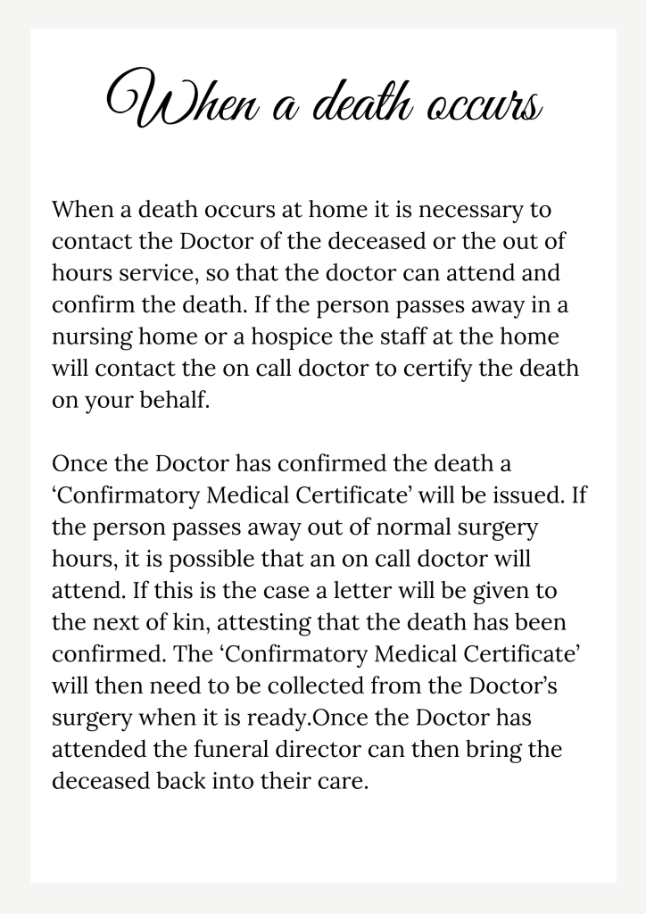 when a death occurs