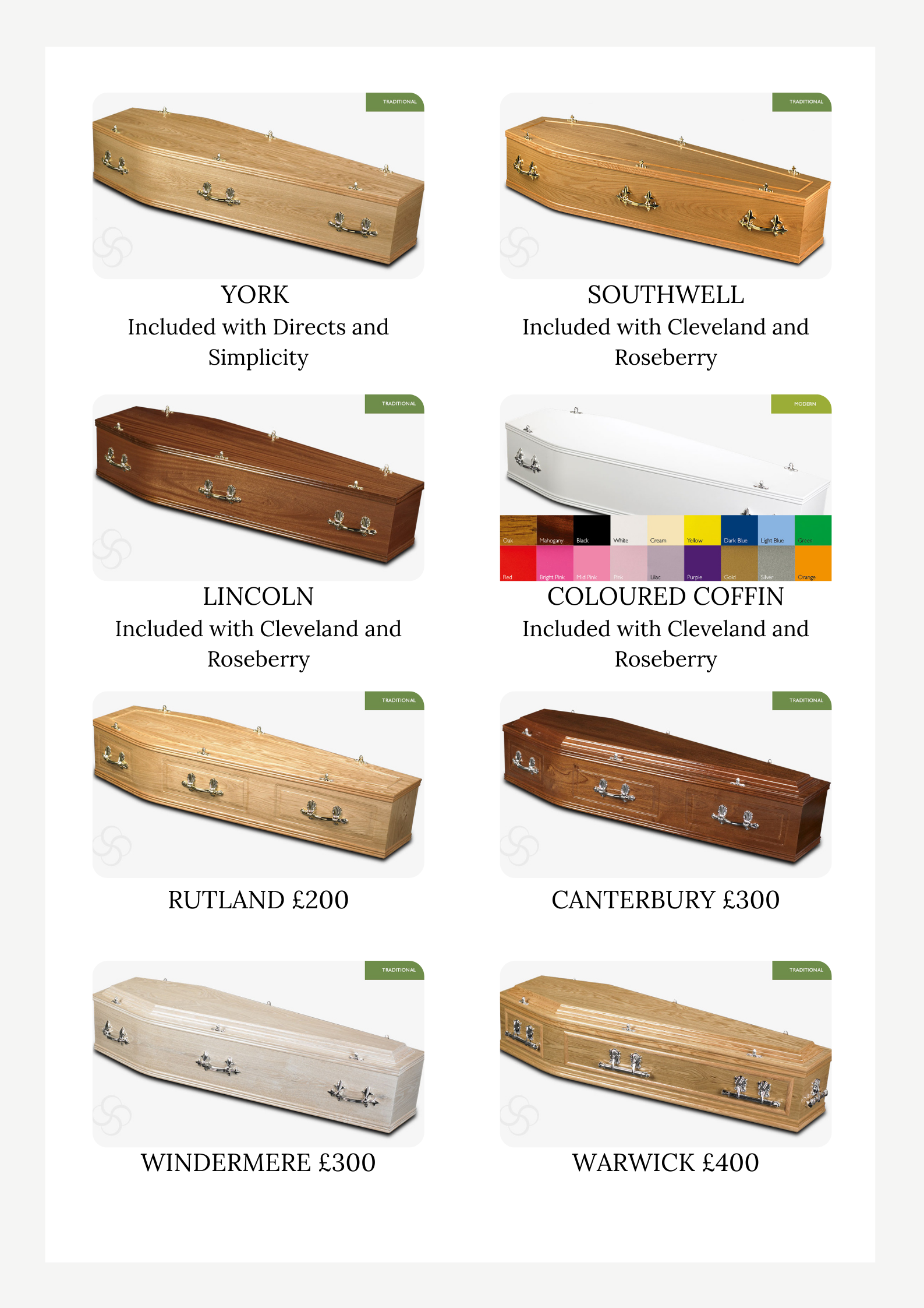 COFFIN CHOICES